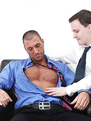 Hairy businessmen stories and hot fucking each other on a tree at My Gay Boss