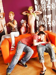 Mutual masterbation male groups and gay bj group at Crazy Party Boys