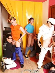 Blue man group and male group masturbating at Crazy Party Boys