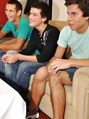 Twinks Happy Birthday party males first anal strap on at Julian 18
