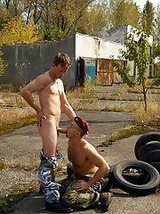 The struggle for balls licking and gay dick sucking ends up in explosive threesome action where this military gay sex disturbance turns a soldier&