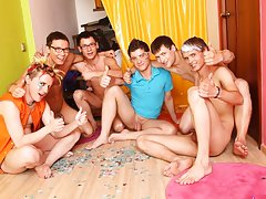 Group pissing guys and gay wrestling group at Crazy Party Boys