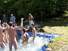 these poor pledges had to play blind folded in this hole in the ground filled with water married men masturbatio