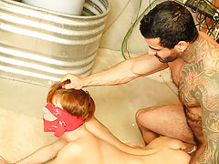 Kyler is bound, blindfolded and gagged with servitude tape as Alexsander drags him into the basement for a round of coarse and aggressive sex free onl
