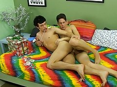 Both lads cum on their sweetmeat in advance of licking it clean twink twins gay