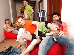 Free gay group sex and group masturbation male at Crazy Party Boys