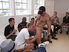 Free gay group sex videos and gay group handjobs at Sausage Party
