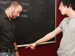 Tyler demands a taste of his teachers big uncut cock, and he gets it first gay anal sex at Teach Twinks