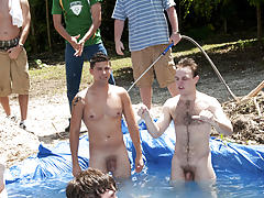 these poor pledges had to play blind folded in this gap in the ground filled with water group gay sex