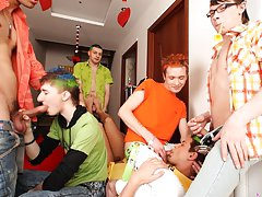 Male group masterbation and gay group sex videos at Crazy Party Boys