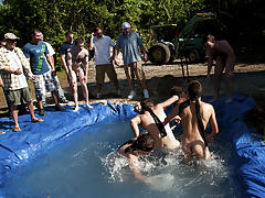 There is nothing like a nice summer time splash, especially when the pool is stud made and ghetto rigged as fuck male group masturbating