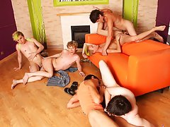 Group masturbation guys and gay nude groups at Crazy Party Boys