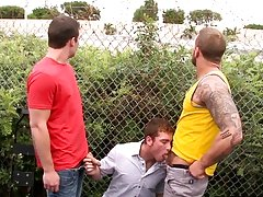 Before u know it he is down on his knees gargling 2 cocks erotic male gay naked outdoors