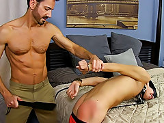 He paddles the tied boy until his gazoo is red before freeing him from some of the restraints so he can feed him his cock hardcore gay hairy at Bang M
