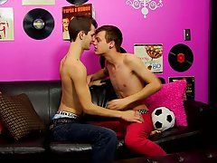 Two hot men kissing on a beach and teen naked cute boy at Boy Crush!