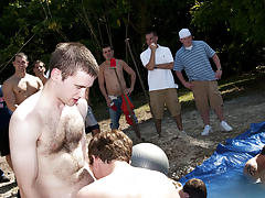 I mean its not embarrassing sufficiently playing nude in a nasty fake pool male group masturbation