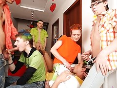 Breathtaking orgy for the birthday is the best present for such a handsome lad male group masturbatio at Crazy Party Boys