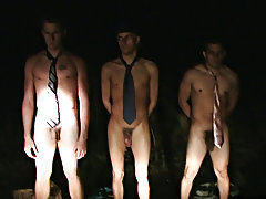 WTF one of the lads licks his own cum... ha anyways then they make the loser who could not cum engulf off one of his brothers in the car anal group or