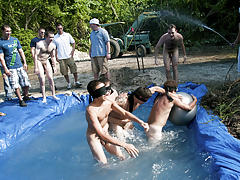 There is no thing like a valuable summer time splash, especially when the pool is guy made and ghetto rigged as fuck gay group sex orgy