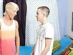Conner gets down on his knees to engulf Jeremy's dick before the tall blonde returns the favor, cramming Conner's large pecker in his mouth