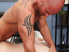 Horny youthful guy Tyler Bolt is out beside the pool when big muscle dad M,itch Vaughn arrives to take a dip man on man anal sex at I'm Your Boy