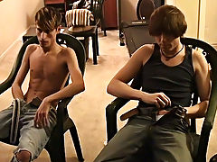 When he's ready to blow, Jared cums all over William's leg teen gay group sex - at Boy Feast!