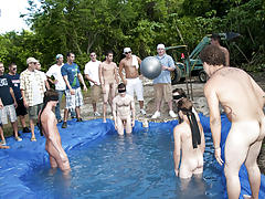 There is nothing like a nice summer time splash, especially when the pool is man made and ghetto rigged as fuck group gay fuck