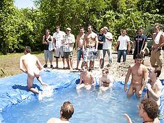 There is nothing like a nice summer time splash, especially when the pool is man made and ghetto rigged as fuck group gay sex xxx fucking