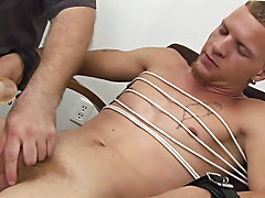 I had this youthful fetish pig, tied up with a hood over his head as I began my trip of his jock inside those white taut undies