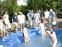 There is no thing like a nice summer time splash, especially when the pool is guy made and ghetto rigged as fuck gay group sex orgy