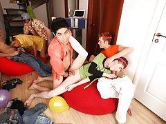 Huge gay group sex and gay group facials at Crazy Party Boys