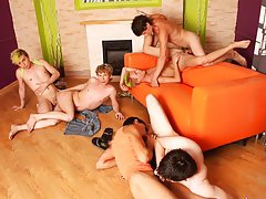 Gay gang bangs orgy group sex and male tickling groups at Crazy Party Boys