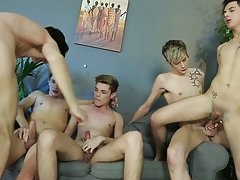 Free gay hairy male bareback orgy at Staxus