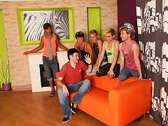 Group male physical exam and mature gay group sex at Crazy Party Boys