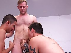 Hairy gay men with mouthful of cum and boy on boy cum swapping pic