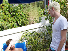 When Timo Garett turns up and wants a quick dip in the pool, they head to dry off, the sucking, fucking and hardcore rimming sessions then take place