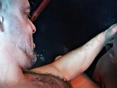 After seeing broad, shaven head man Ty LeBeouf heading into Sweatbox, bushy hunk Carlo Cox can not resist taking a detour into the gym where anything
