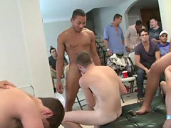 Gay facial video group and gay porn group ass fucking at Sausage Party