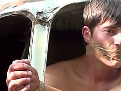 Bound and Waxed Friend men sucking cock outdoors