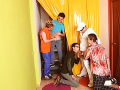 Gay blow job groups and teen group orgy men at Crazy Party Boys