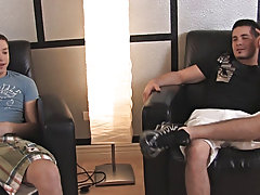 Richie jerks that cock of us and he explodes that load all over Sean's back hardcore gay porn at Broke College Boys!