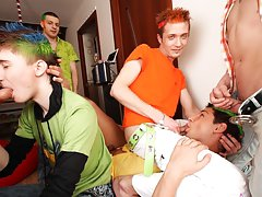 Gay group blowjob and gay group cock sucking at Crazy Party Boys