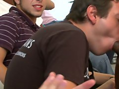 Group gay blowjob and long gay group sex at Sausage Party