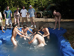 these poor pledges had to play blind folded in this aperture in the ground filled with water gay and bi male group sex