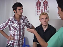 Group male physical exam and gay group masturbation video