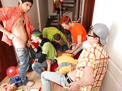 Group male sex and gay group anal sex at Crazy Party Boys