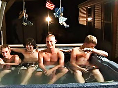 We got 4 boys: Tanner, Dakota, Tommy, and Josh all in the hot tub, ready to make it one hell of a spree gay men having group sex