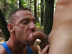 No time for hellos as these two horny guys get straight into it men pissing outdoor