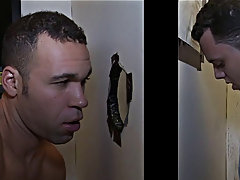 He's pumped to get his cock blown at a nasty back room glory hole, and it's going to happen, just not the way he thinks gay blowjobs sex