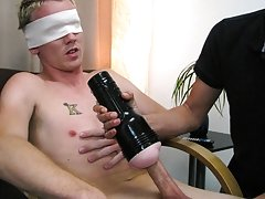 When he sees that Keith is still not relaxed, he blind folds him household items used fo
